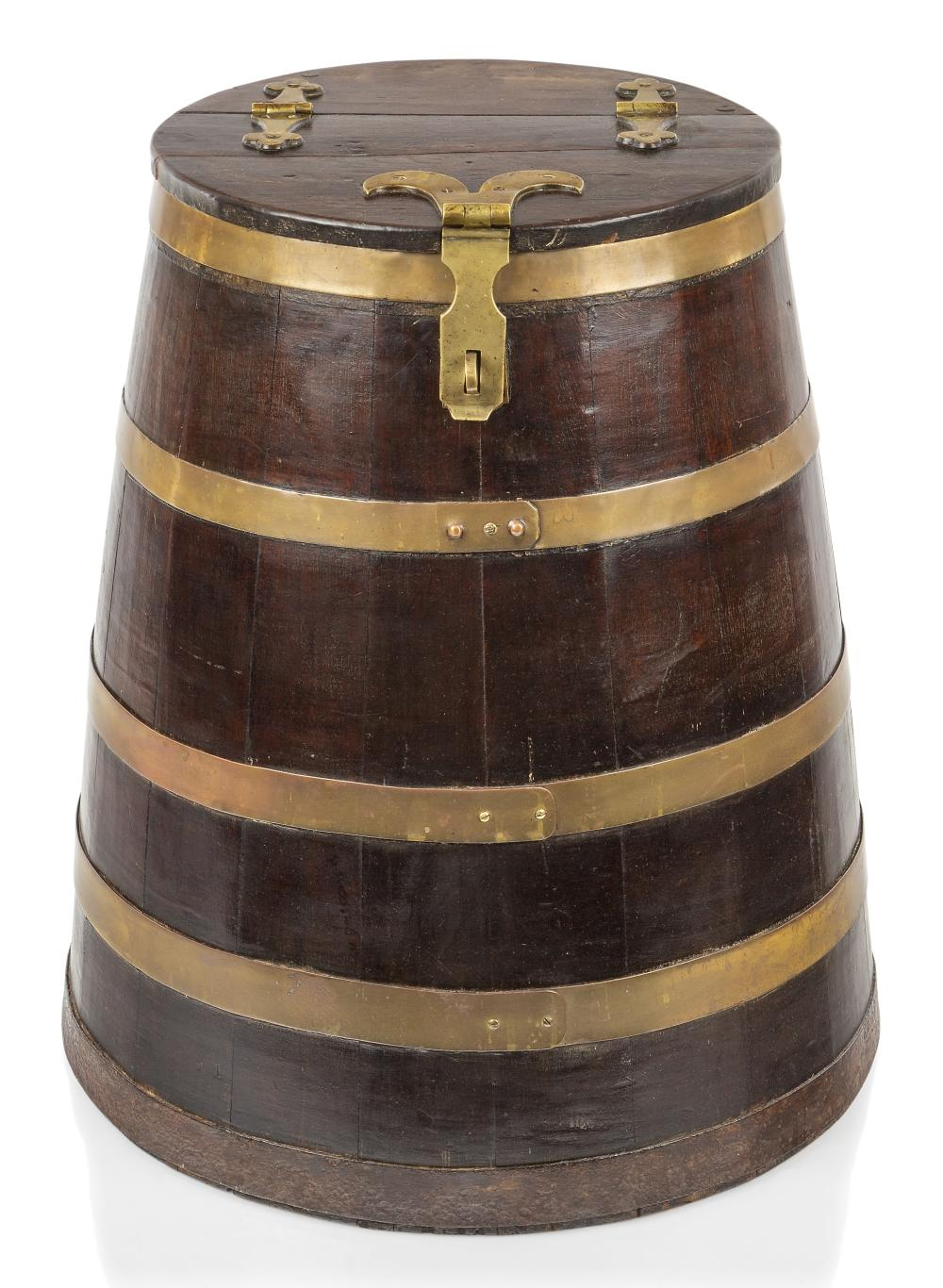 A RARE VICTORIAN BRASS-BOUND OAK HARNESS CASK FOR THE ROYAL NAVY