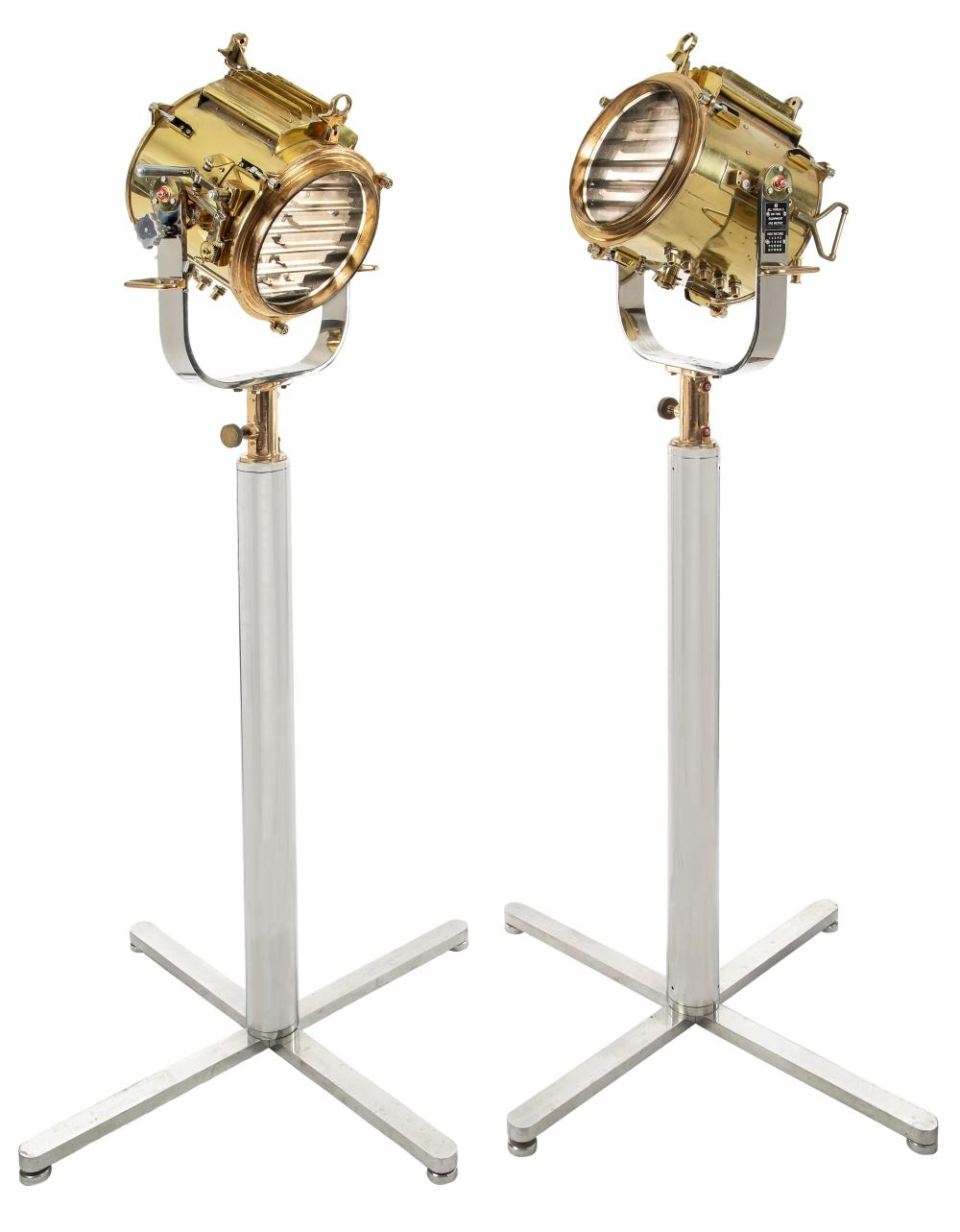 A FINE PAIR OF RECONDITIONED ROYAL NAVY SIGNAL LIGHTS, CIRCA 1940