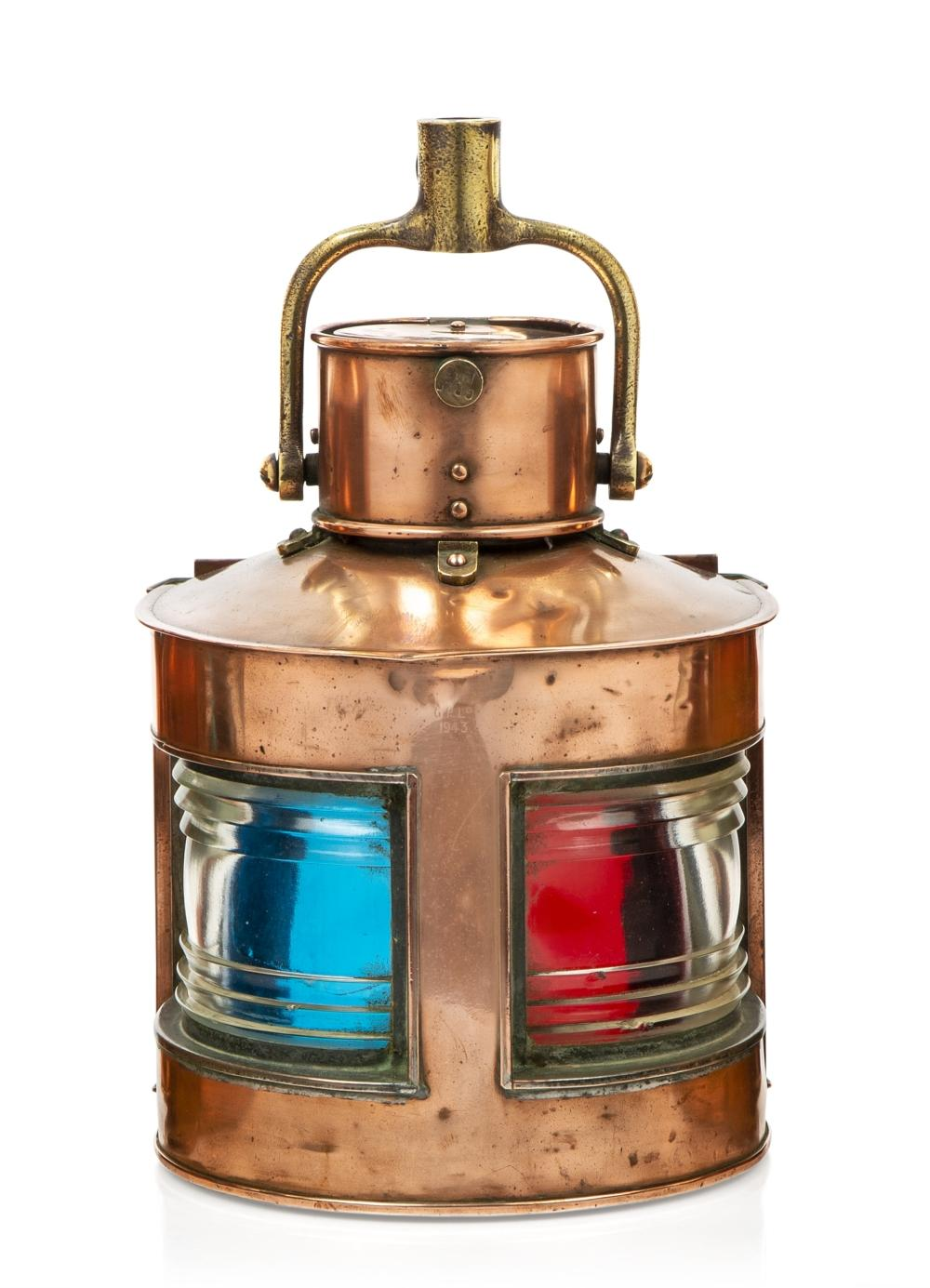 A COPPER AND BRASS PORT/STARBOARD BOW LAMP FOR THE ROYAL NAVY, BY G.P. LTD, 1943
