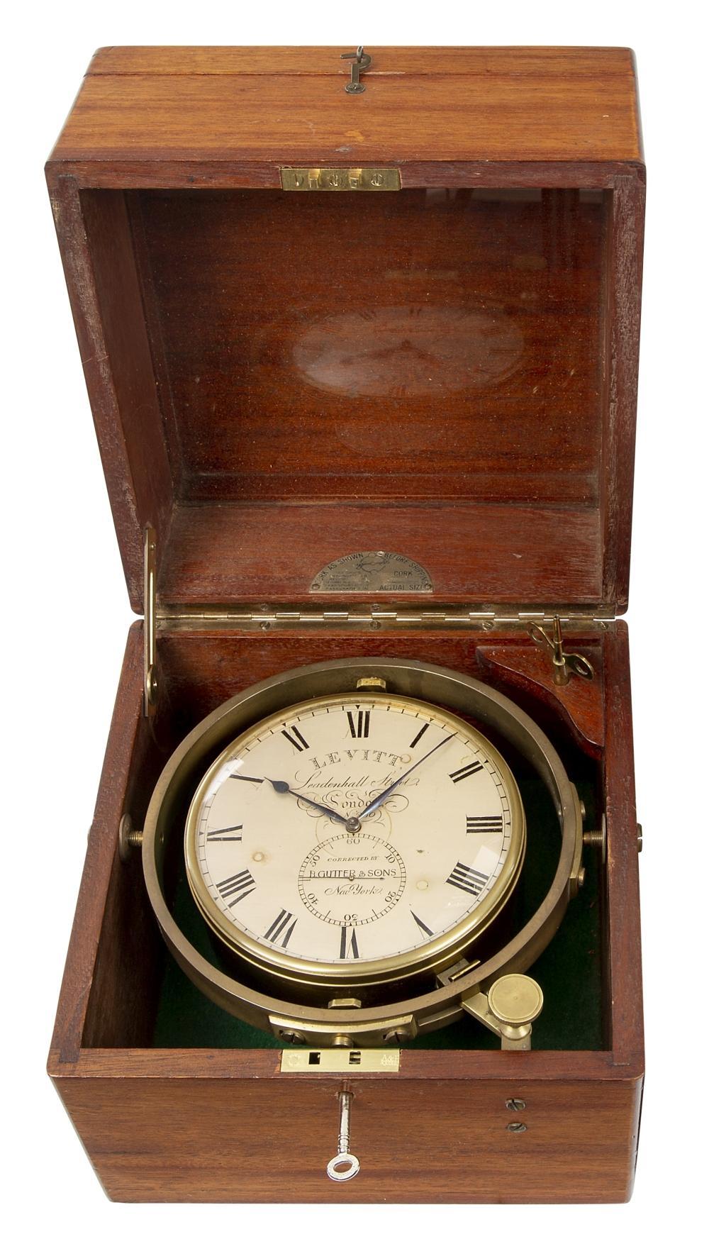 AN EIGHT-DAY MARINE CHRONOMETER BY LEVITT, LONDON, RETAILED BY B. GUTTER & SONS, NEW YORK CIRCA 1830
