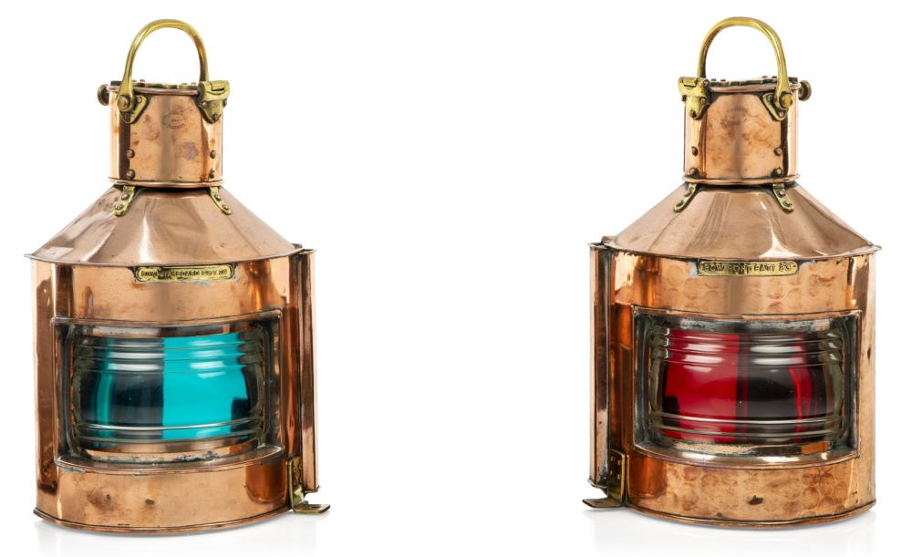 A PAIR OF COPPER AND BRASS PORT AND STARBOARD LAMPS