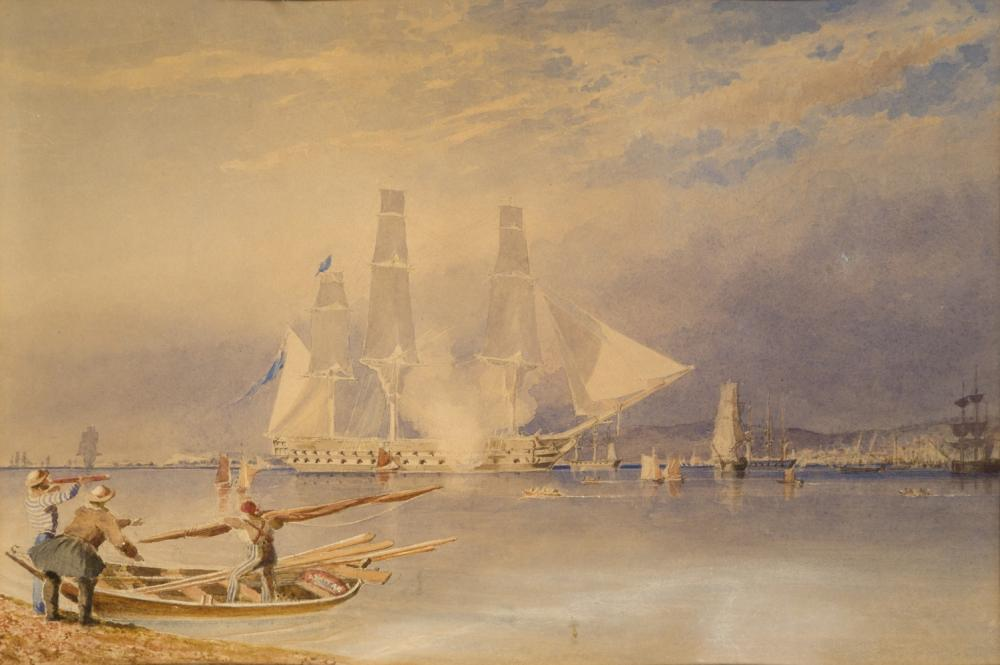 ATTRIBUTED TO JOHN WARD OF HULL (BRITISH, 19TH CENTURY) H.M.S. 'Asia' entering Spithead, 1834