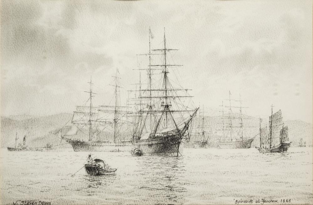 δ JOHN STEVEN DEWS (BRITISH, B. 1949) : 'Spindrift' at Foo Chow, 1868; 'Lahloo' at Gravesend, 1870