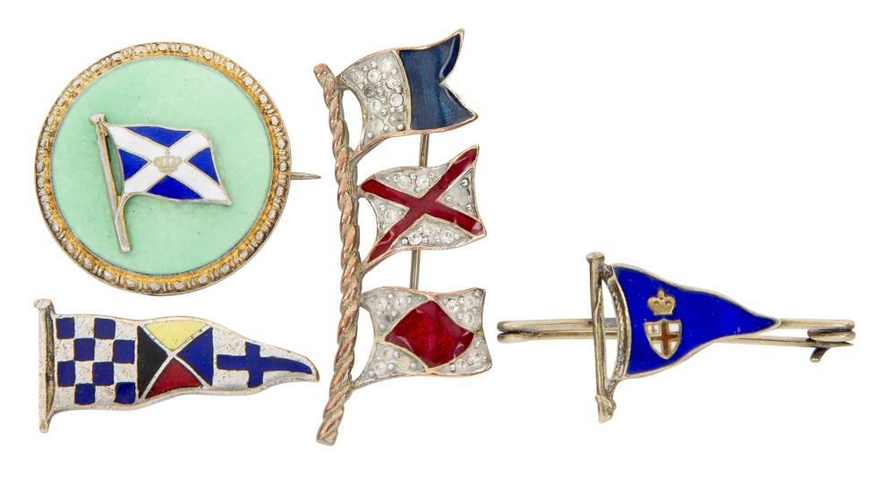 FOUR ENAMEL FLAG AND BURGEE BROOCHES