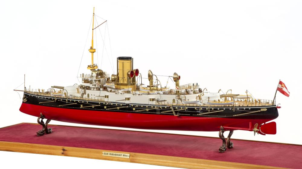 A FINELY DETAILED 1:100 SCALE STATIC DISPLAY MODEL OF THE MONARCH-CLASS COASTAL DEFENCE SHIP WIEN BUILT FOR THE AUSTRO-HUNGARIAN NAVY, 1898