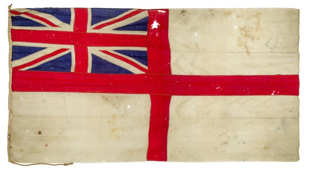 H.M.S. EXETER'S BATTLE ENSIGN FLOWN DURING THE ACTION AGAINST S.M.S. ADMIRAL GRAF SPEE AT THE BATTLE OF THE RIVER PLATE, 13TH DECEMBER, 1939