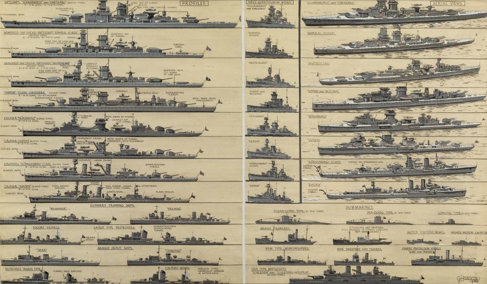 δ GEORGE HORACE DAVIS (BRITISH, 1881-1960) : Kriegsmarine recognition profiles, three-quarter bow views and aerial views