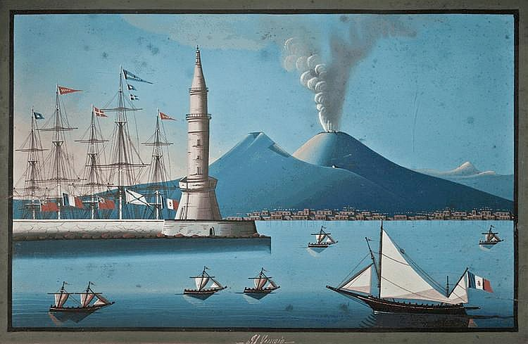 NEAPOLITAN SCHOOL, 19TH CENTURY The harbour at