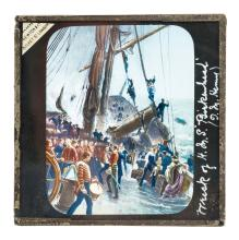 A SET OF COLOURED NAVAL HISTORY MAGIC LANTERN LECTURE SLIDES