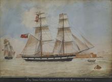 NICHOLAS CAMMILLIERI (MALTESE, 1762-1860): The brig 'Thomas Gowland' of Sunderland, Stephen L. Gordon Master, arriving at Malta 1863