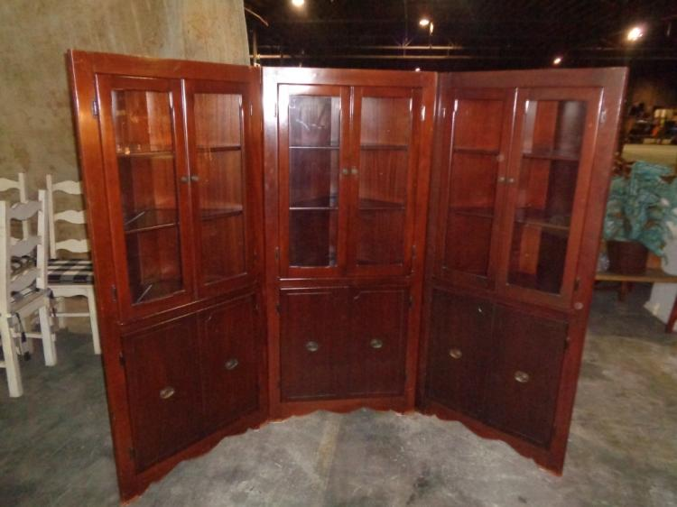 3 Antique Matching Corner Cabinets (bench Made)