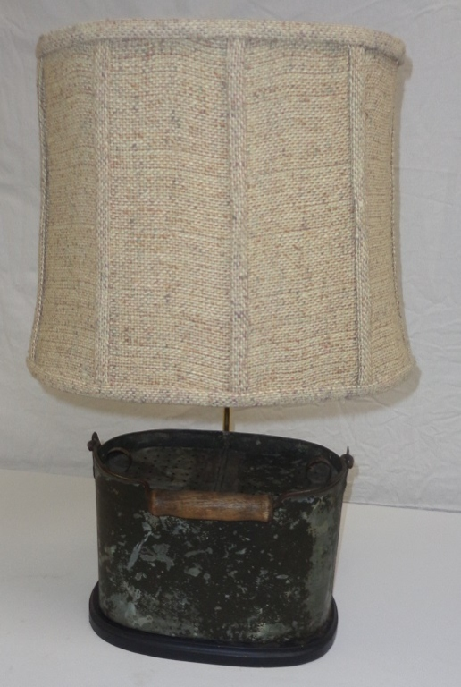 Antique Fishing Can Lamp With Woven Shade