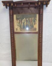 Antique Mahogany Mirror With Inset Painting