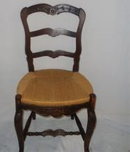 Antique Oak Ladder Back Chair With Cain Seat