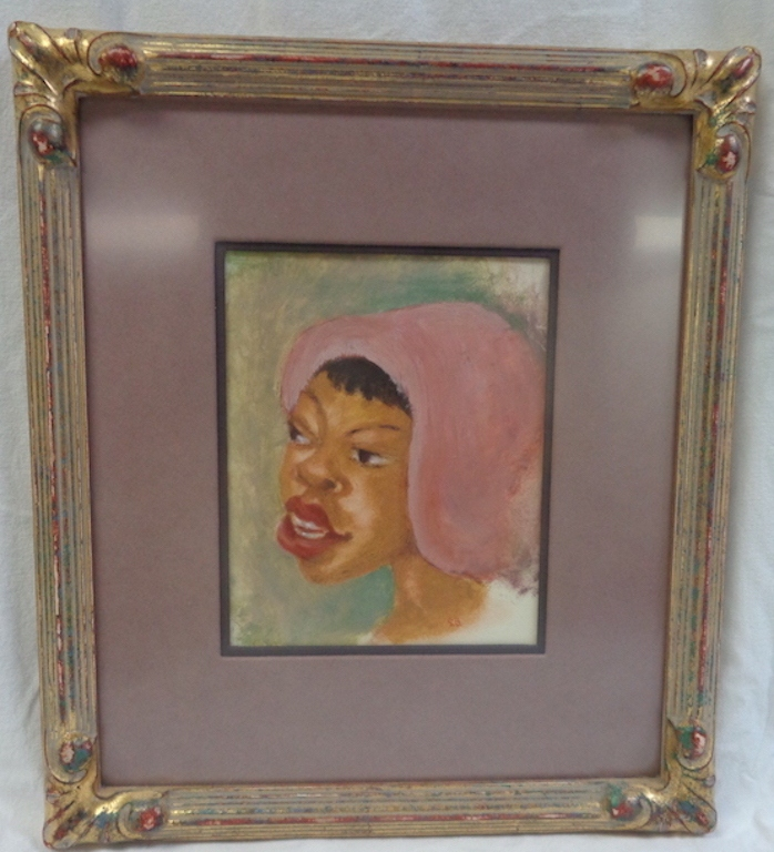 Black Girl With Pink Bonnet, Oil On Paper