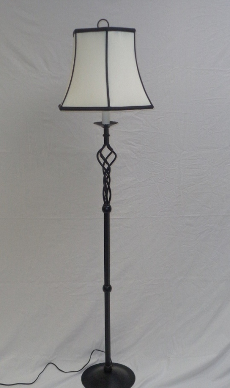 Black Iron Floor Lamp With White & Black Shade