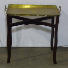 Brass Serving Tray With Mahogany Stand