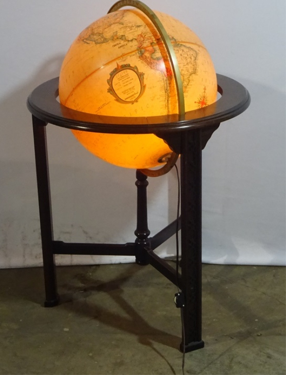 Classic Globe On Mahogany Stand-electified