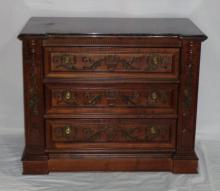 Continental Baroque Style Mahogany 3 Drawer Chest