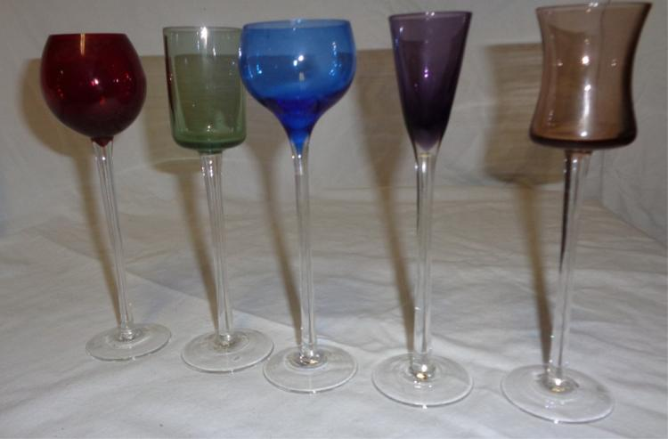 Five Colored Modern Murano Italy Apperiffe Glasses