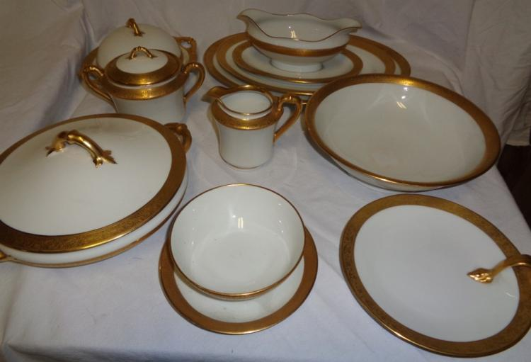 Gold Rimmed Haviland Serving Pieces (9 Items)