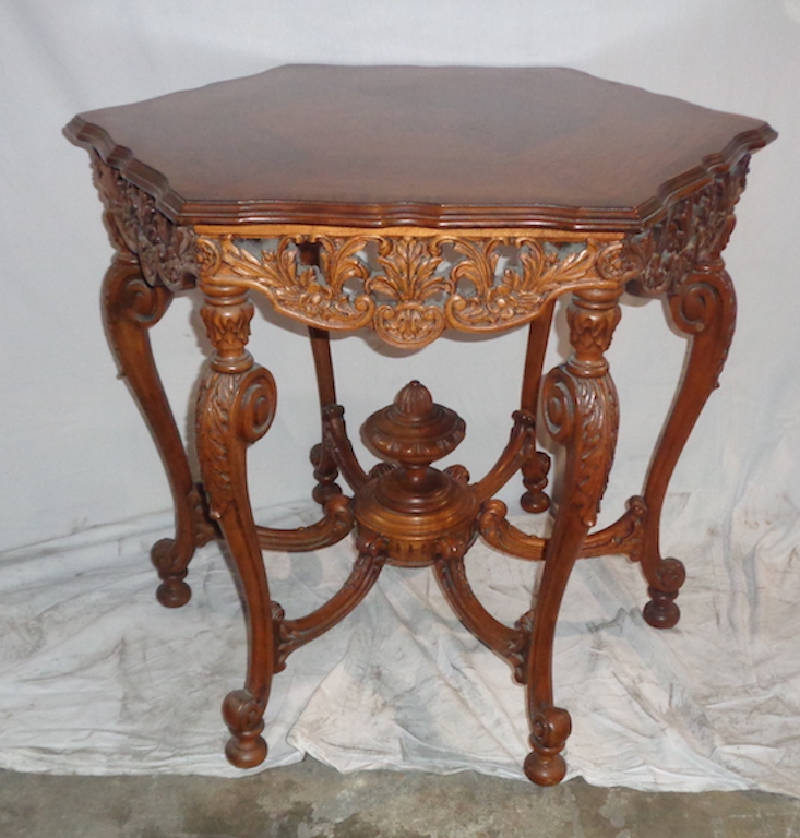 Hand Carved Mahogany Side Table