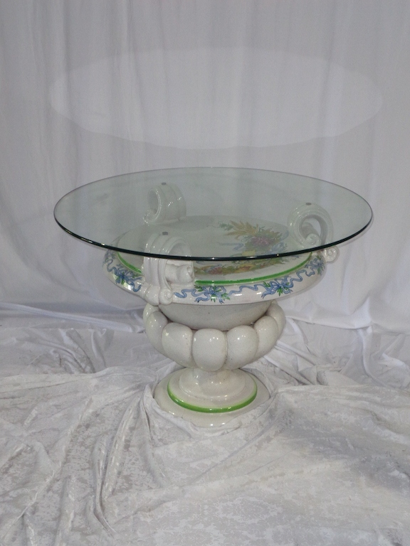 Italian Della Robbia Style Patio Table- Glass Top