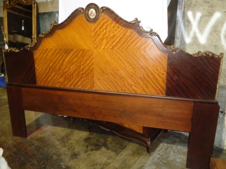 Louis Xv King Size Satinwood & Mahogany Headboard