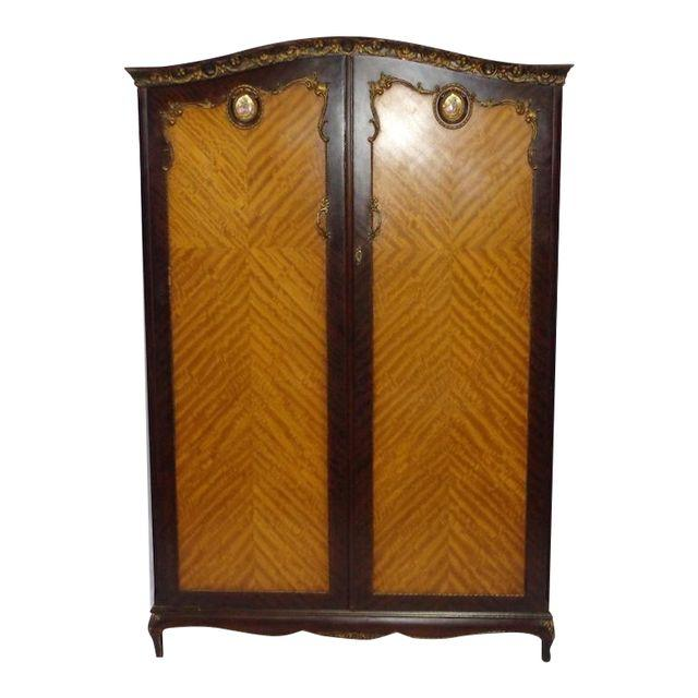 Mahogany & Tiger Wood Armoire With Limoges Insets