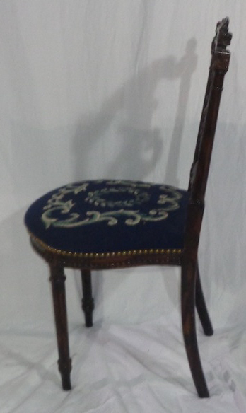 Mahogany Music Chair  With Blue Needlepoint  Seat