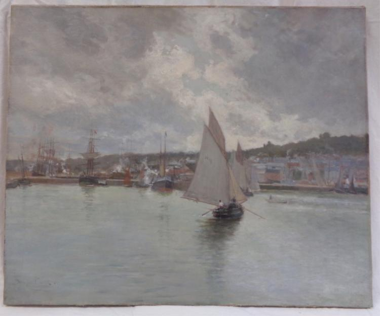 Maurice Courante 1867 Sail Boats In Harbor Uf