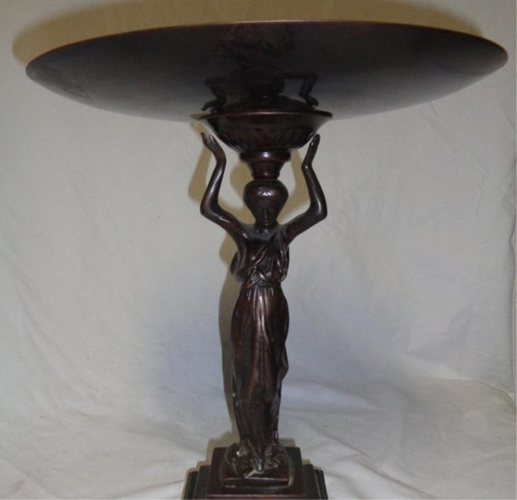 Neoclassic Bronzed Platter On Stand