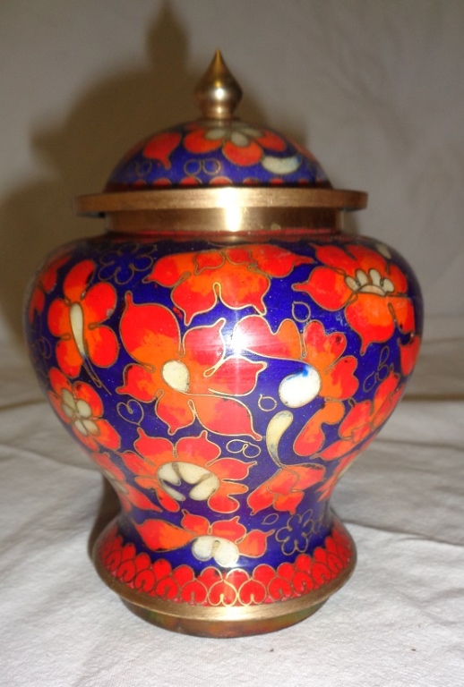 Orange & Blue Cloissone Vase With Lid