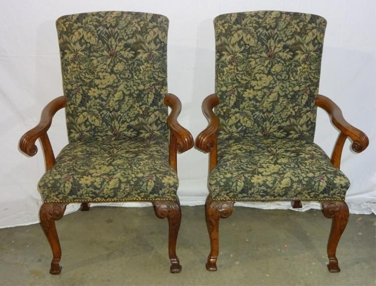 Pair Of English Upholstered Arm Chairs