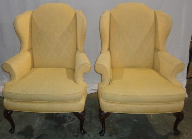 Pair Of Gold Wingback Chairs With Queen Anne Legs