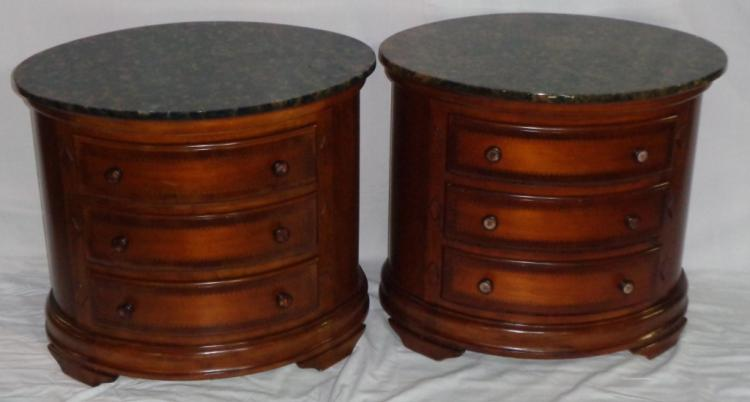 Pair Of Inlaid Mahogany Oval Small Chest