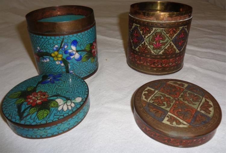 Pair Round Cloissone Canisters