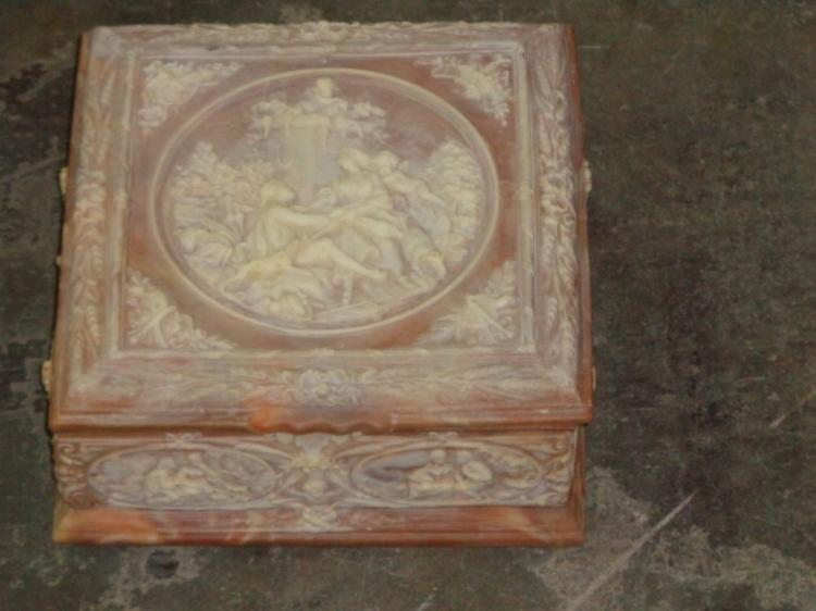 Pink Carved Marble Box