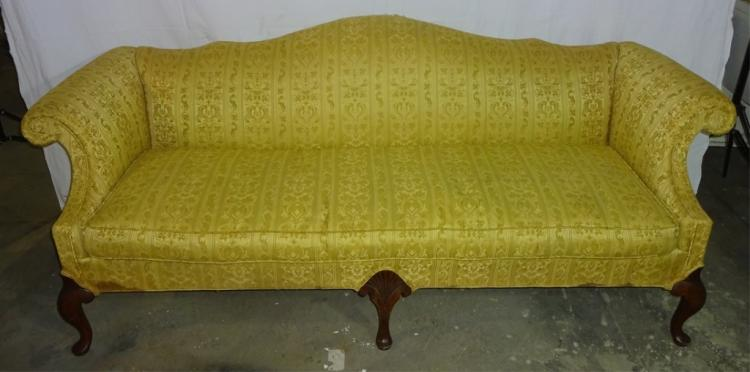 Queen Anne Camel Back  Sofa W/ Gold Fabric