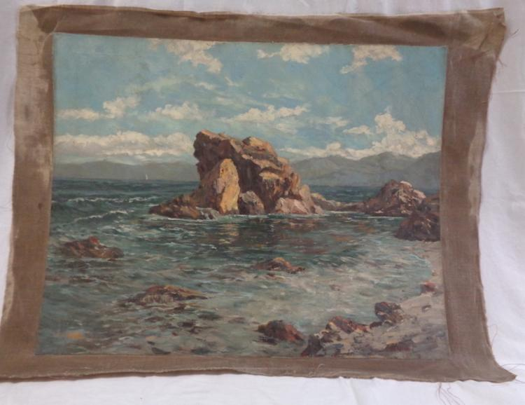 Rocks & Sea -oil On Canvas Unframed