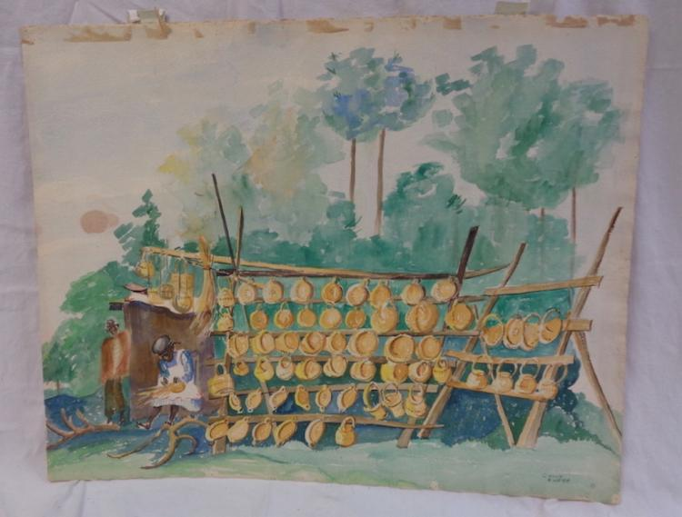 Sally Frost Knerr Original Watercolor Basket Stand