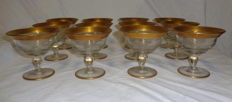 Set Of 12 Gold Rimmed Crystal Parfait  Glasses