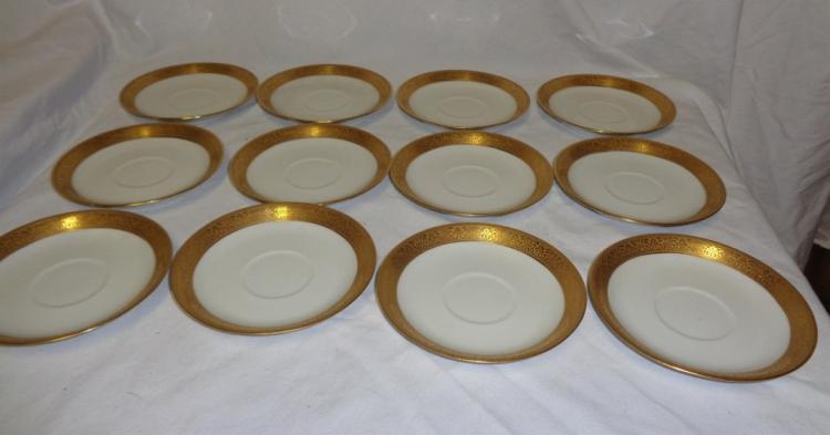 Set Of 12 Gold Rimmed Haviland Cup & Saucers