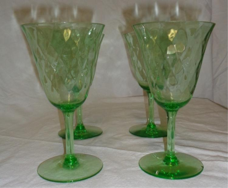 Set Of 4 Green Crystal Wine Glasses
