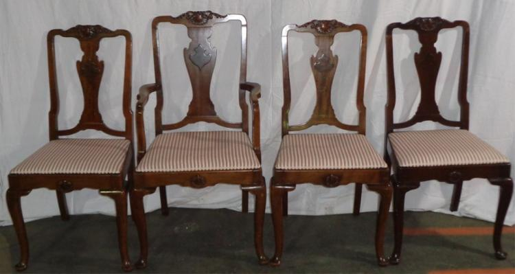 Set Of 6 Queen Anne Mahogany Chairs