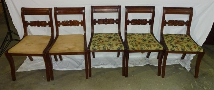 Set Of 7 Mahogany Harp Back Chairs