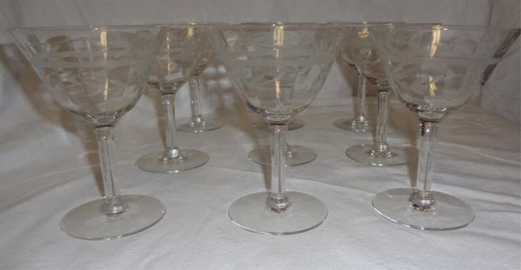Set Of 9 Etched Crystal Parfait Glasses