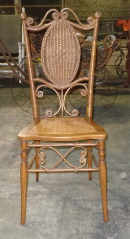 Small Brown Wicker/reed Victorian Chair