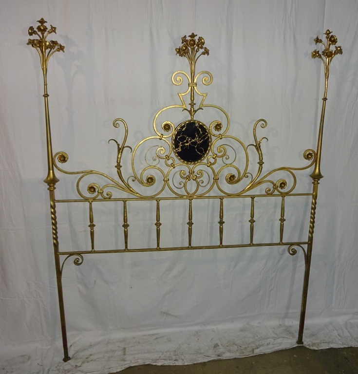 Tuscan Iron Headboard With Floral Spray Finials