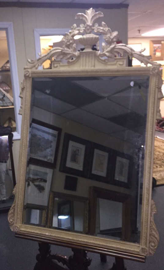 Wood And Plaster Antique Beveled Mirror